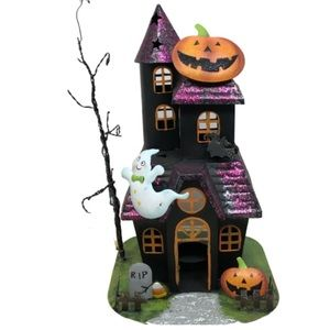 NWOT! Halloween haunted house tealight holder.